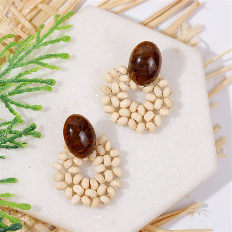 19 Fashion Boho Round Square Geometric Wooden Drop Earrings For Women Bohemian Vintage Wood Beaded Dangle Earring Jewelry Gift 23