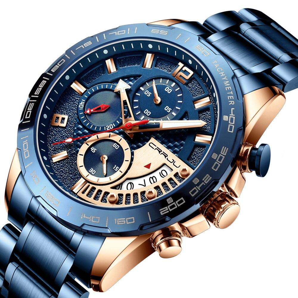 CRRJU 2020 модные мужские часы из нержавеющей стали, люксовый бренд, бизнес, светящийся хронограф, кварцевые часы, мужские часы