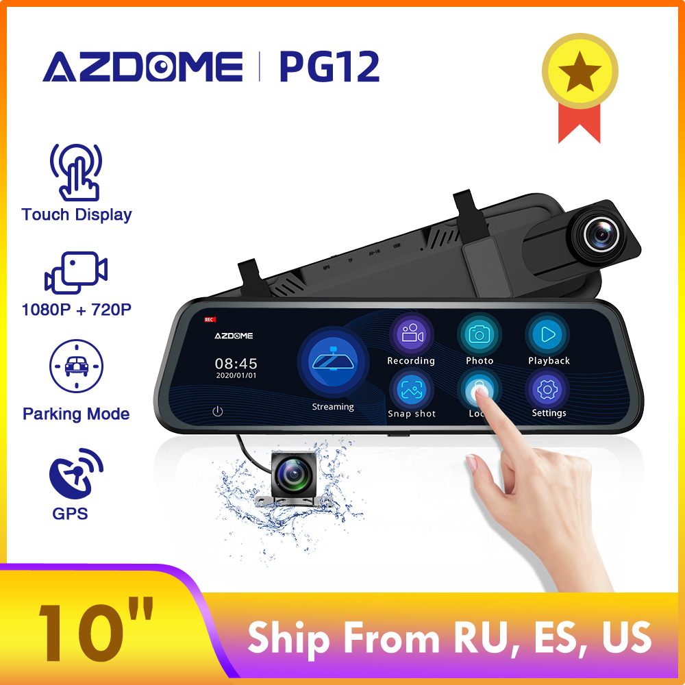 AZDOME Car-Dvr-Support Dash-Cam Streaming-Media GPS Dual-Lens PG12 Night-Vision Full-Screen title=