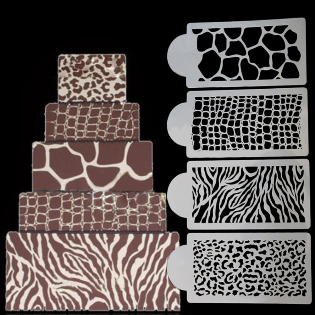New 4pcs/Set Newest Design Stencil Cake Stencil Fondant Molds Cakes And Cupcakes Stencil  Mold Cake Tools Stencil