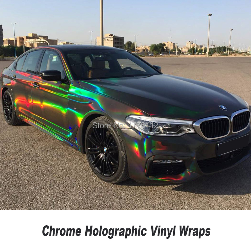 High-end Silver/ Black Chrome Holographic Vinyl Wrap Rainbow Laser Vinyl wrap Bubble Free Car Sticker title=
