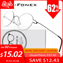FONEX Prescription Eyeglasses Frame Screwless Eyewear Myopia Optical-Denmark Round Korean
