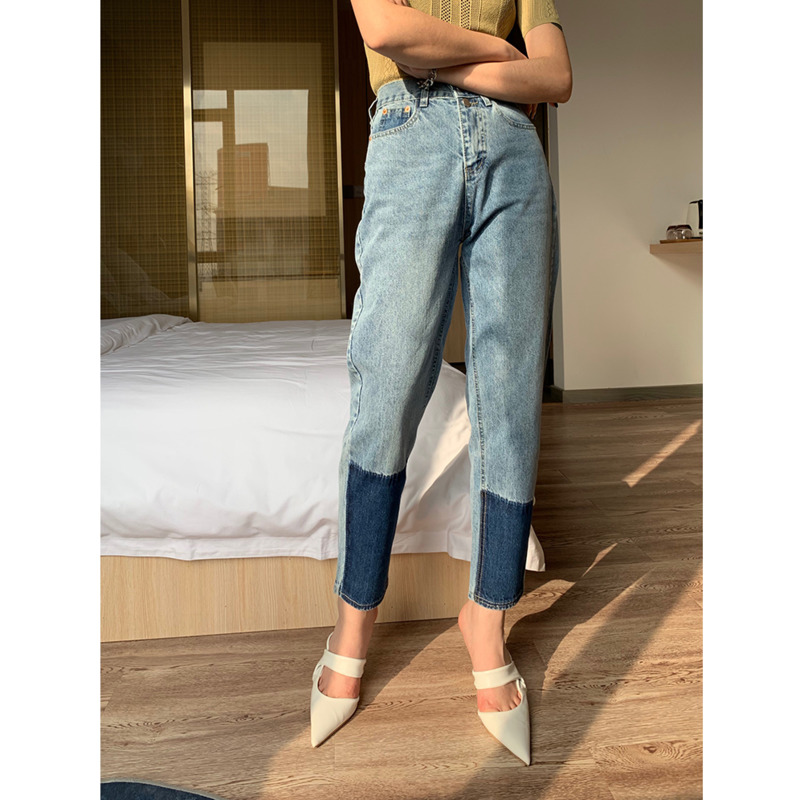 [DEAT] 2020 New Fashion Trousers High Waisted Women/'s Jeans Denim Straight Softener Slim Patch Color Block Leisure Slim AP805