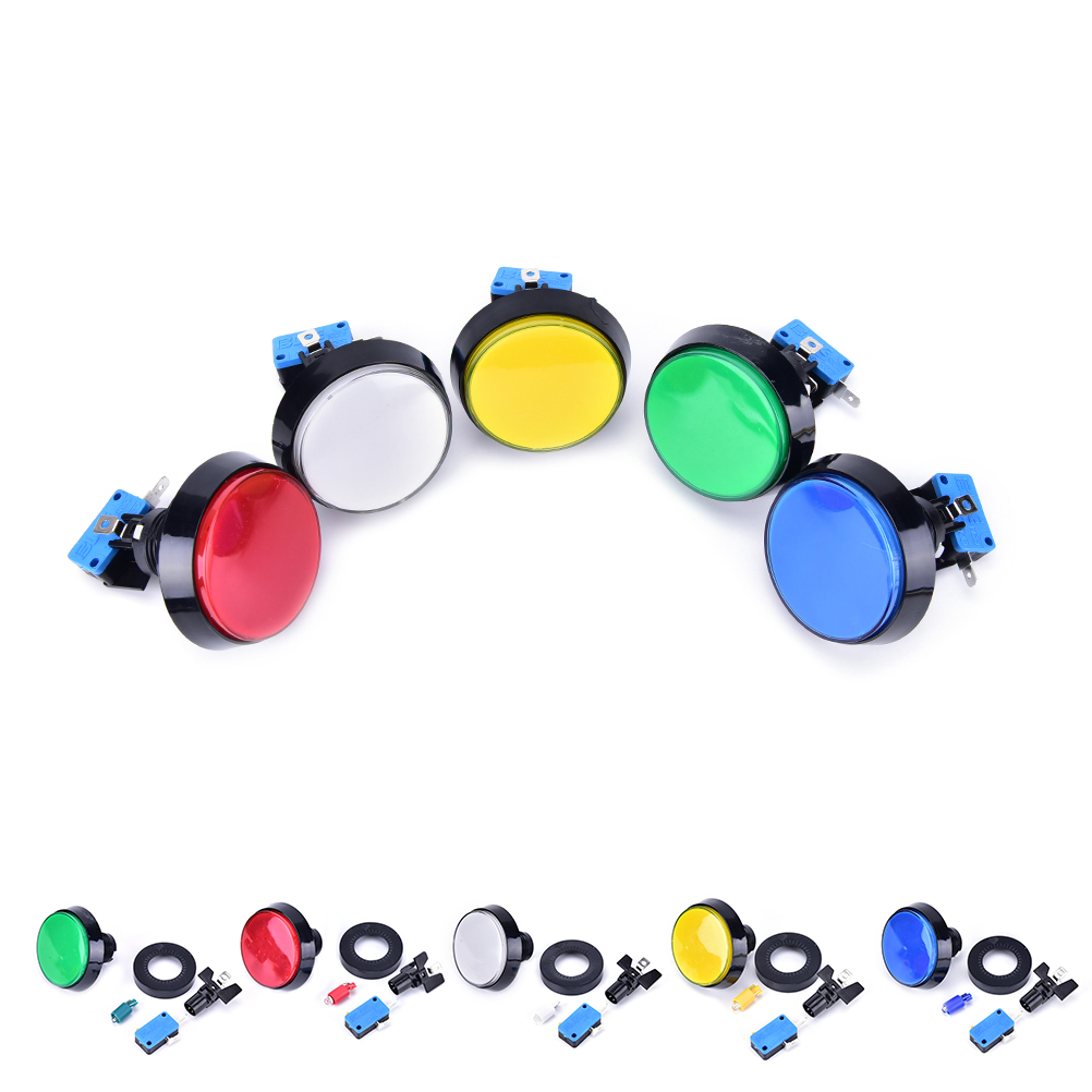 1 PCS Arcade Button 60MM LED Light Lamp Big Round Arcade Video Game Player Push Button Switch Promotion 5 colors