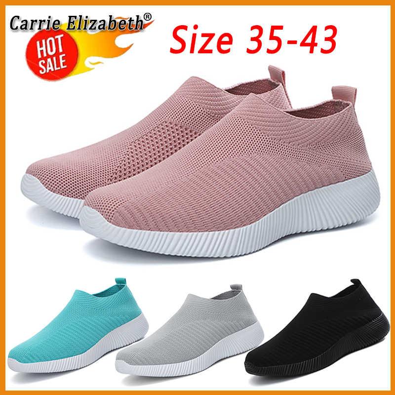 Women Casual Flat Slip On Sport Trainer Lady Summer Pump Weave Walking Shoe Size
