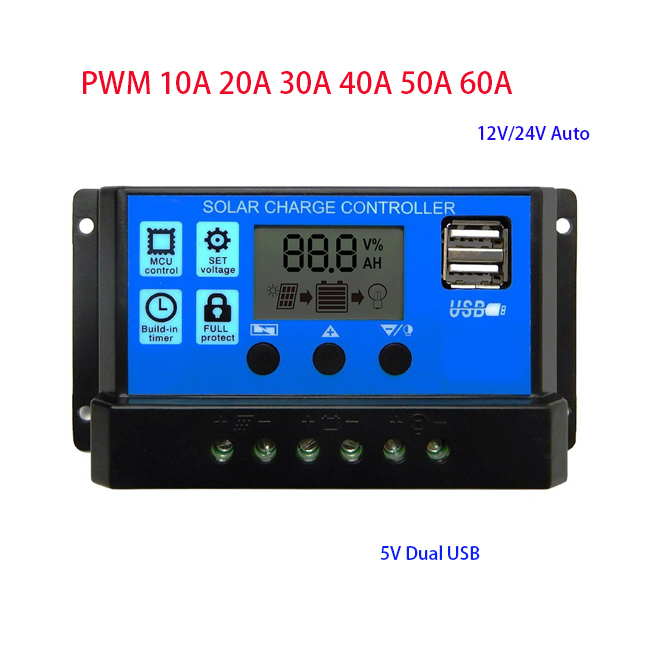 40A solar panel controller battery charge regulator 12V//24V auto dual USB YEHN
