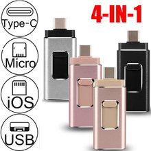 256G 64G 128GB OTG USB флэш-накопитель для iPhone5S/6/6S/6plus/7/7Plus/8 pluxx Android Type-C 4in1 pendrive stick Пользовательский логотип 3,0(Китай)