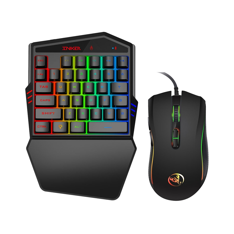 Suitable for Mobile Gamers Mechanical Gaming Keyboard Support for Android and iOS Platforms Bluetooth 4.0 Ergonomics RGB Lighting SSSLG One-Hand Gaming Keyboard