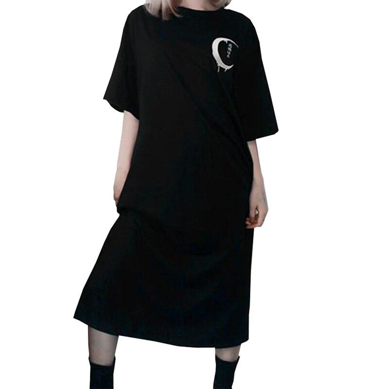 Gothic Punk Dress Women Black Retro Moon Print Long Dress Female Halloween Straight Dress S-XL