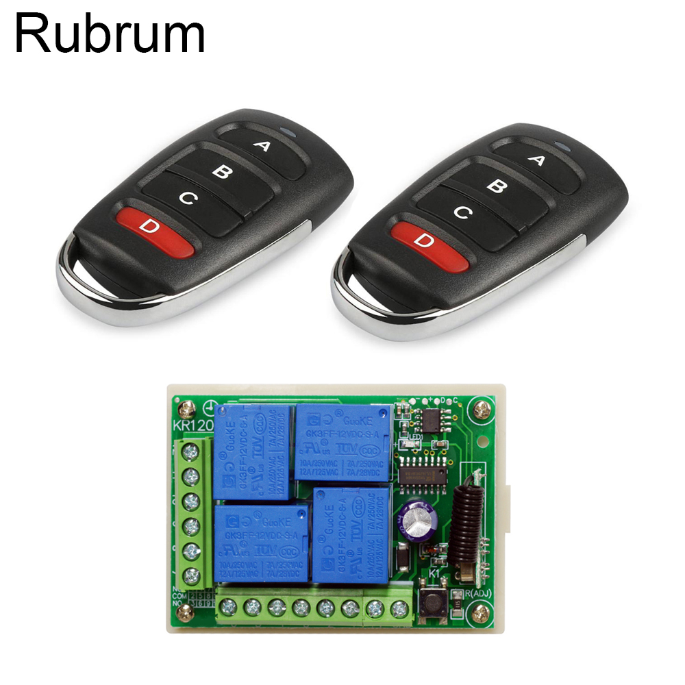Rubrum 433MHz Universal Wireless Remote Control Switch DC 12V 4CH Relay Receiver Module RF 4 Button Remote Control Garage Door title=