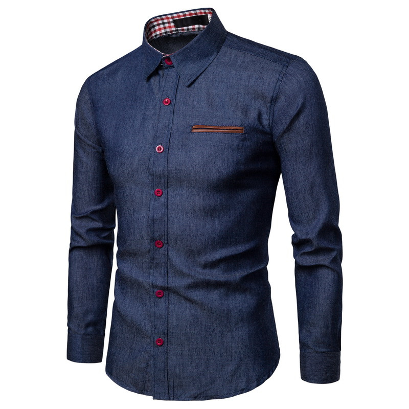 New Arrival Men's Shirts Solid Slim Fit Long Sleeved High Quality Wash Denim Cowboy Jeans Shirts Men Casual Winter Autumn title=