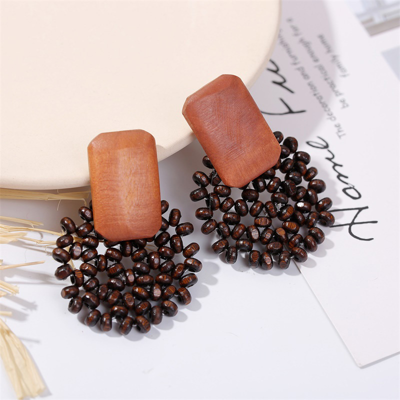 19 Fashion Boho Round Square Geometric Wooden Drop Earrings For Women Bohemian Vintage Wood Beaded Dangle Earring Jewelry Gift 13