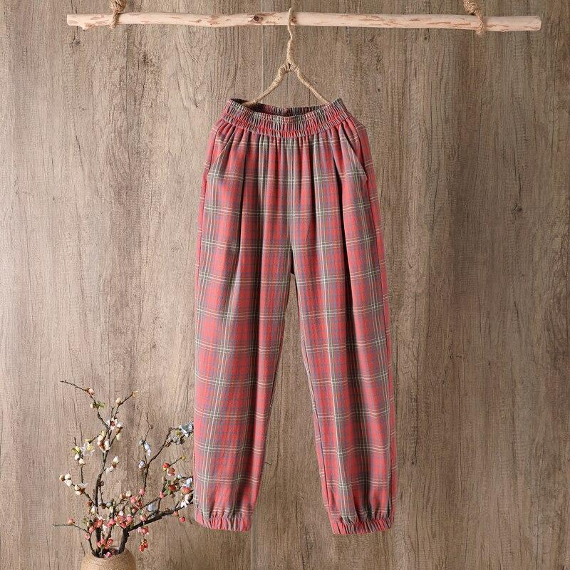 Summer New Casual Cotton Fabric Trousers Loose and Comfortable Plus Fours Pants Plaid Pants Plus Size Pants Women Wide Leg Pants