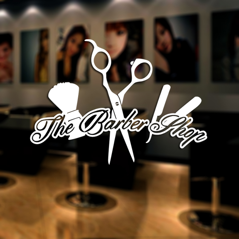 Barber Shop Sticker Name Scissors Clipper Hair Salon Decal Neutral Haircut Poster Vinyl Wall Art Decals Windows Decoration M0059