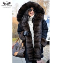 Parkas Jacket Coat Tatyana Furclub Black Natural Winter Women Fox-Fur-Collar Long-Fur