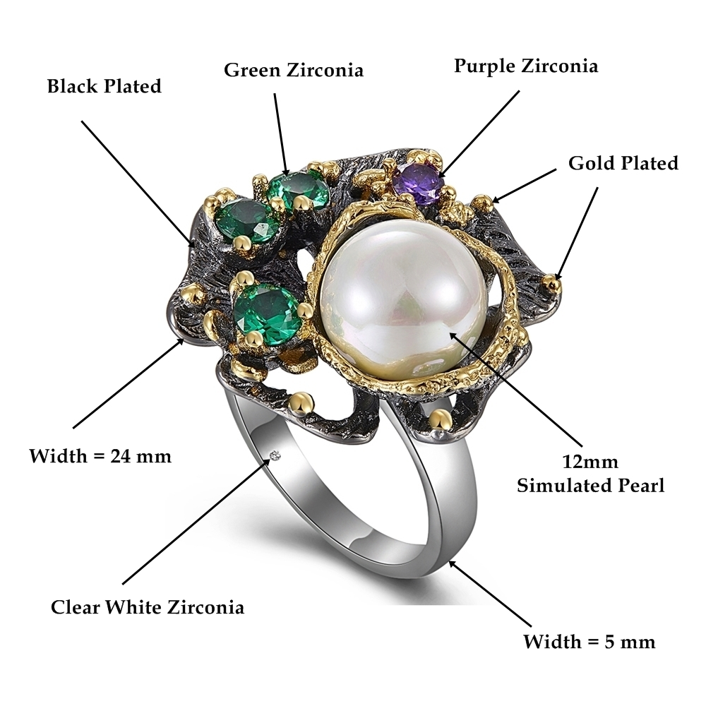 WA11637-Dimension pearl flower ring women vintage gothic stone jewelry (1)