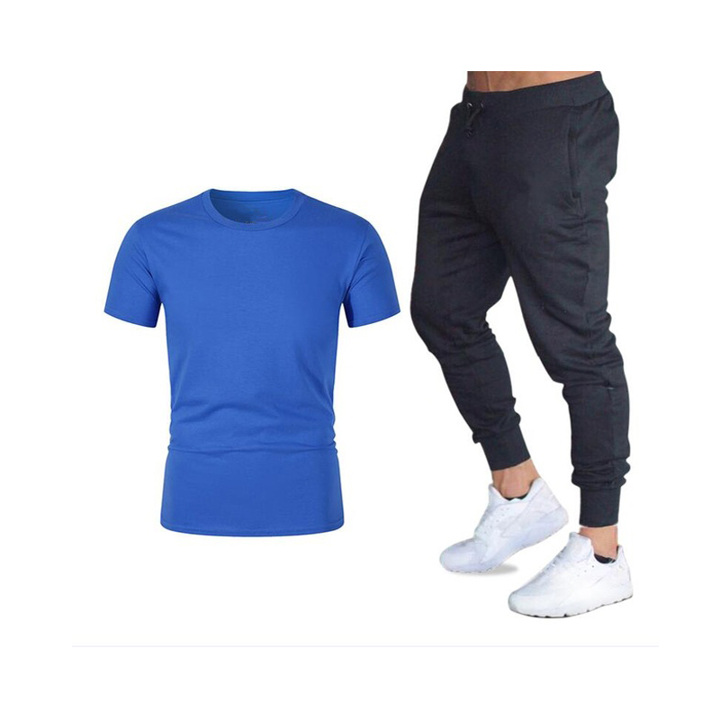 2020 spring and summer new men's sportswear cotton clothes casual sportswear men's short-sleeved 2-piece sweatshirt + pants title=