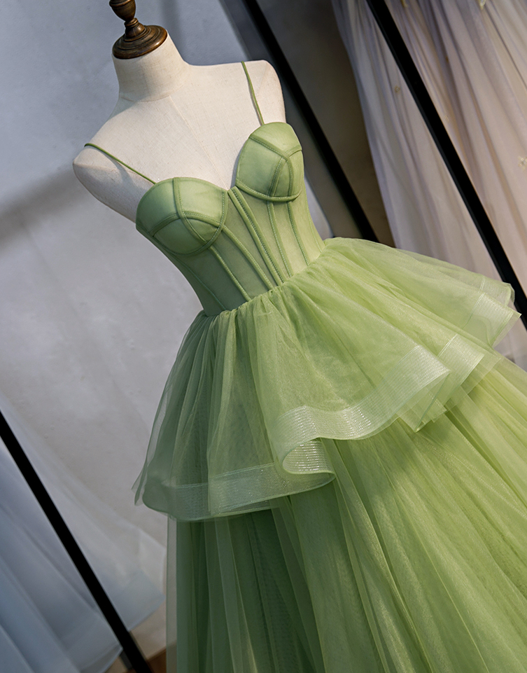 Long Woman Ceremony Dress Prom Fruit Green Ball Gown Tiered Tulle Princess Sweetheart Spaghetti Strap Chapel Train Evening Gown