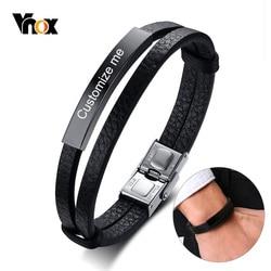 Vnox персонализированные нержавеющая сталь ID тег для женщин мужские браслеты из натуральной кожи гравировка имя Дата пользовательский подар...