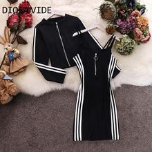 Dress Suit Short-Coat 2piece-Set Women Long-Sleeve Female Sling Round-Collar Striped