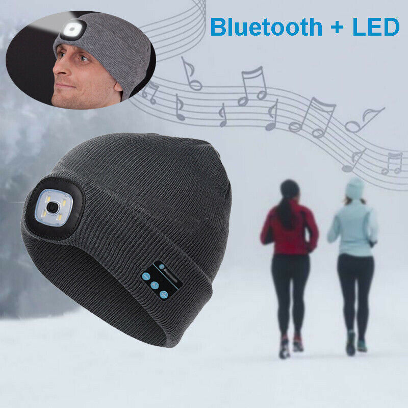 Warm Beanie Headphone-Speaker Smart-Cap Bluetooth Wireless Head-Hat Fashion Led-Light title=