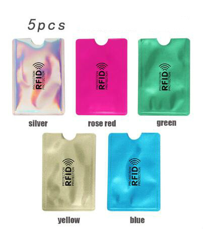 Id-Card-Holder Wallet Reader Bank Protective Anti-Lock RFID Credit Metal Aluminum 5pcs/Pack title=