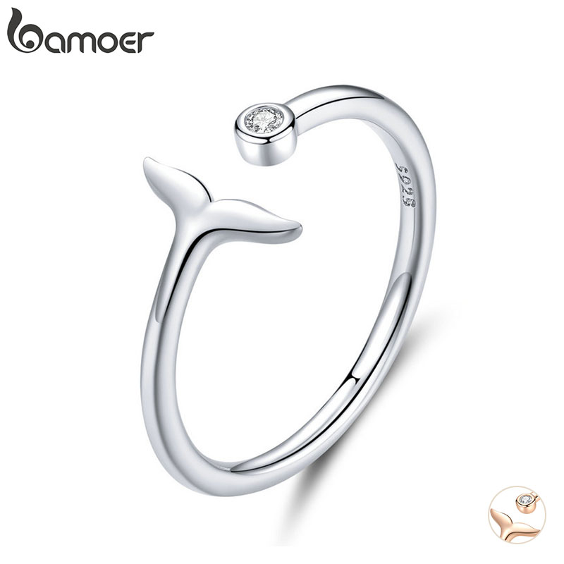 bamoer 925 Sterling Silver 2 Color Fish Tail Mermaid Open Finger Rings for Women Adjustable Band Free Size Bijoux SCR618