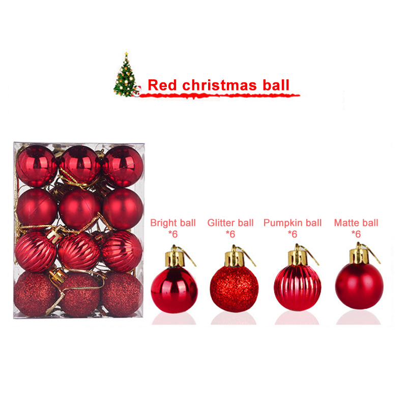24Pcs//Set Christmas Decorations Wooden Small Pendants Xmas Tree Hanging Ornament