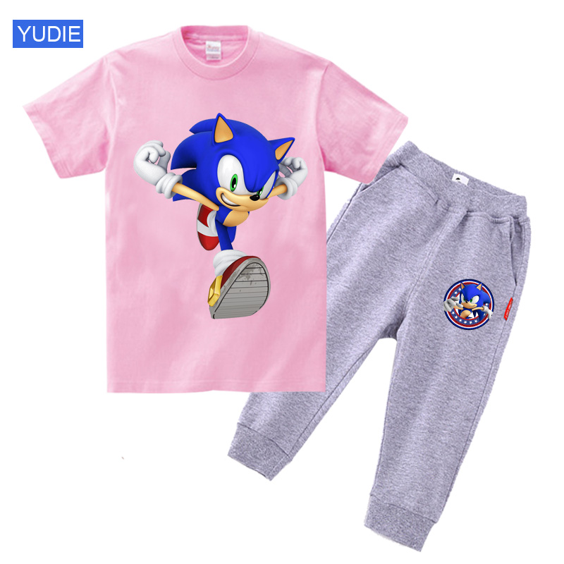 2020 Kids Clothes Toddler Boys Cartoon Outfits Baby Girls Summer Tees Suits 2 3 4 5Years Children Clothing T-shirt + Shorts DIY