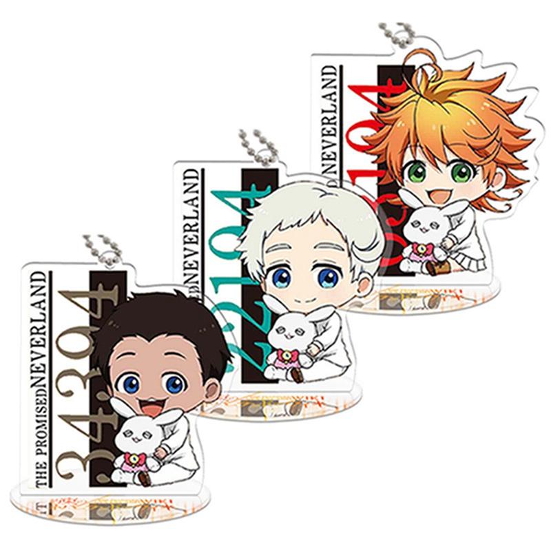 Anime Key Chain The Promised Neverland keychain Emma Norman GILDA Ray figure Acrylic key ring toy pendant Anime sources
