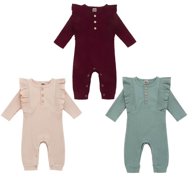 Jumpsuit Romper Long-Sleeve Baby-Girls Spring Ruffles Cotton New Cute And Solid Autumn title=