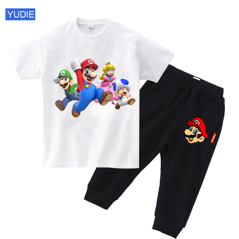toddler boys outdoor clothing set kids clothes Cartoon Mario Children Funny sportwear Set Baby Boy Girl Summer Casual Suit Child