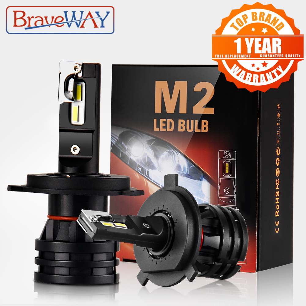BraveWay H4 LED Car Light Bulbs H4 H7 H8 H3 H11 H1 9005 9006 HB3 HB4 LED Headlight for Car Lamp Turbo Bulbs for Auto 12V CANBUS