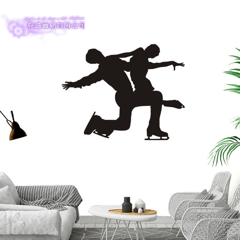 DCTAL Figure Skating Car Sticker Double Skating Decal Skiing Ice Sports Posters Vinyl Wall Decals Pegatina Decor Mural Sticker
