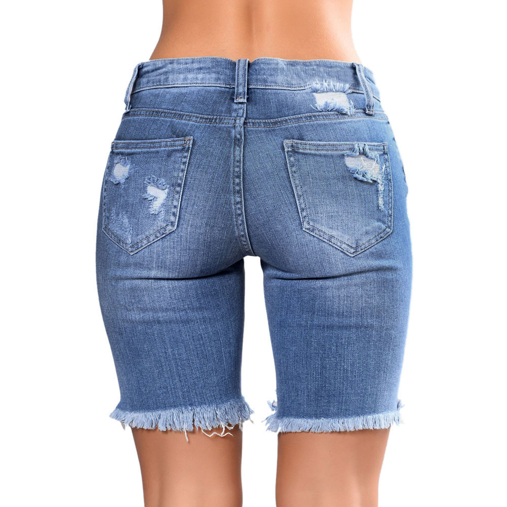 Shi ying Beggar Tight Straight-leg Pants 2019 Summer New Style Europe And America Casual with Holes Denim Shorts Women's 786079 thumbnail