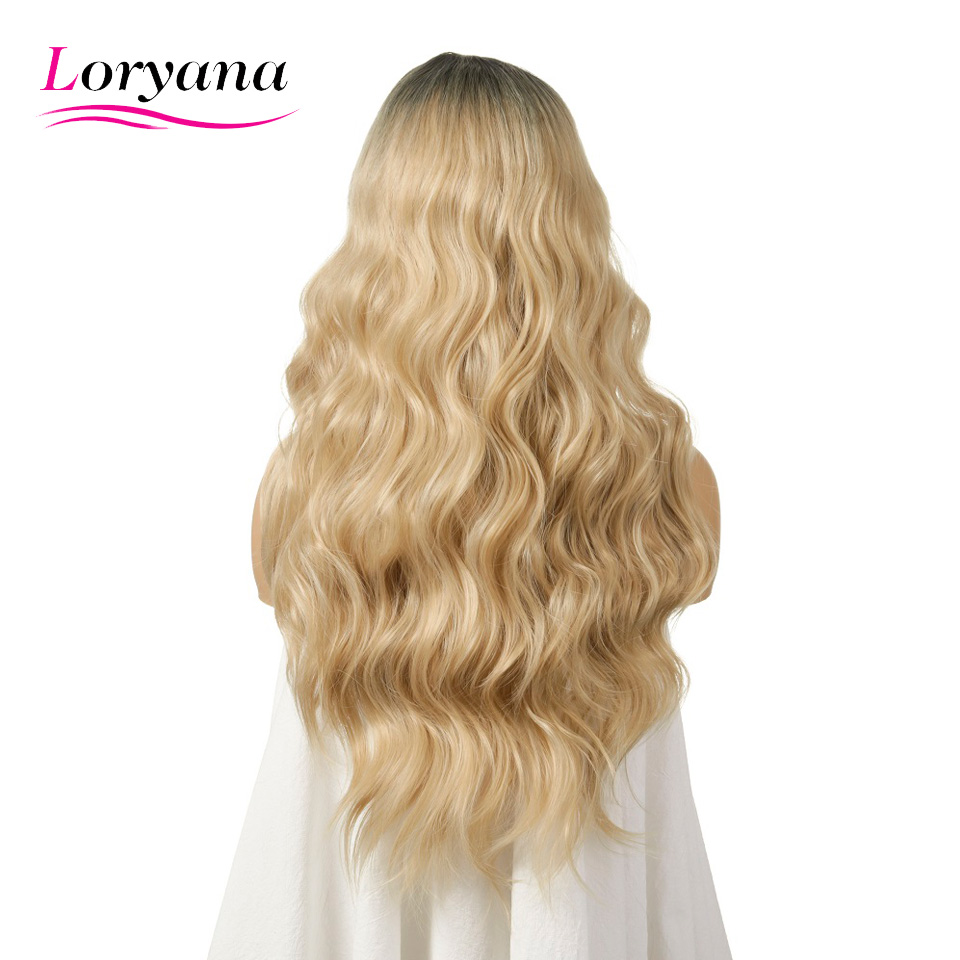 Loryana Long Womens Wigs Ombre Black Blonde Wigs Heat Resistant Part Side Synthetic Wavy Wigs for African American Women
