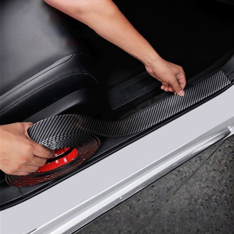 Car Accessories Door Sill Protector Car Styling Carbon Fiber Auto Door Plate Cover Anti Step  Scratch Sticker 7CMx1M