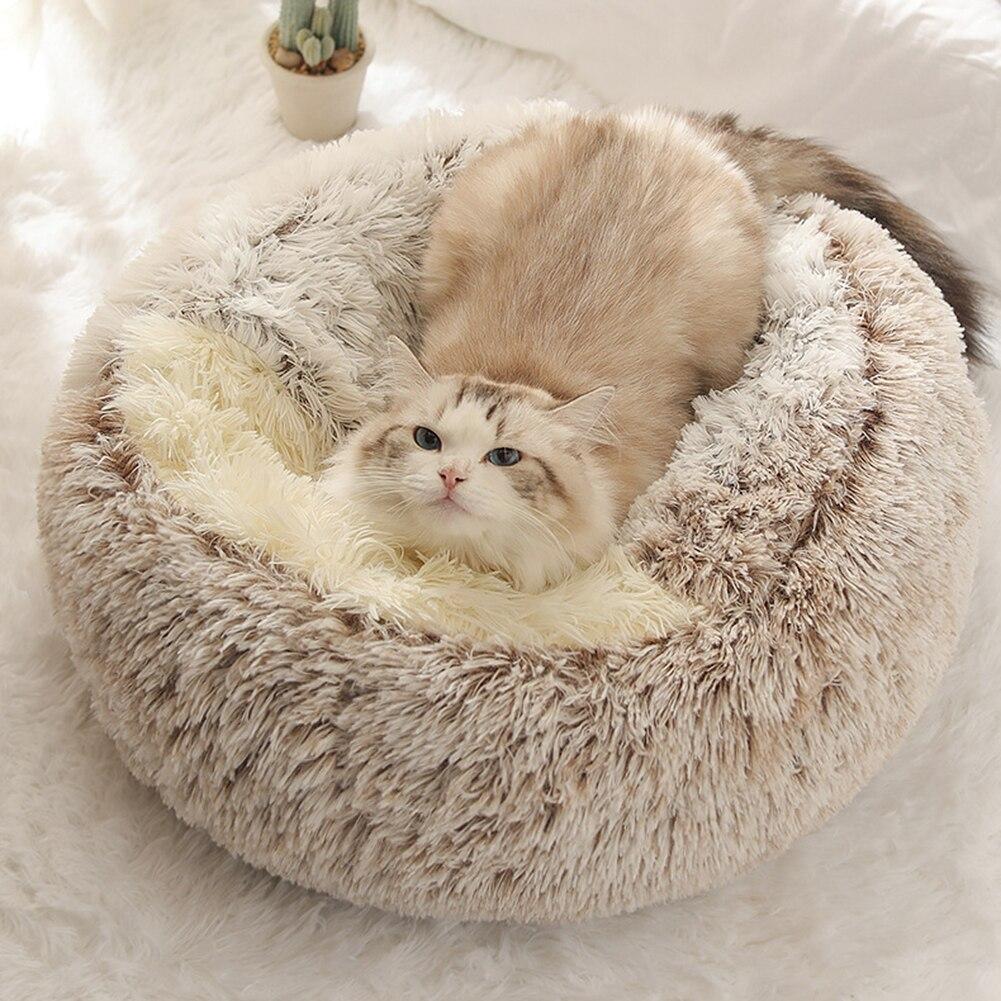 """Plush mantém quente, elegante e bonito, quente e confortável. Ninho dobrável, portátil e fácil de sair. Adequado para cães e gatos pequenos. Dê ao seu animal uma boa noite de sono. Especificação: Material: Pelúcia Tamanho: P: 40 x 40 cm / 15,75 x 15,75 """" G: 50 X 50 cm / 19,69 X 19,69 """" Cor: rosa, café, cinza"""