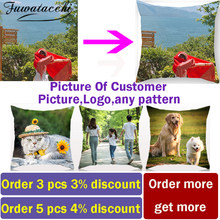 Fuwatacchi Linen Double Sided Cushion Cover Optional Customized Print Pillow Covers Gift Throw Pillowcase Personal Photos(China)
