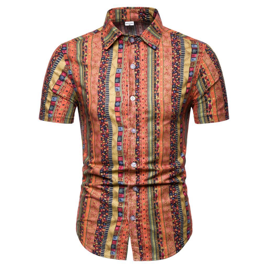 2019 New Summer Mens Short Sleeve Beach Hawaiian Shirts Slim Casual Floral Shirts Regular Plus Size 5XL Mens clothing Fashion