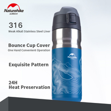 Stickers Water-Bottle Naturehike Bounce-Cover Stainless-Steel Sport 24-Hours Travel-Cup