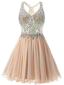 Short-Gown Homecoming-Dress Graduation-Dress Champagne Crystal V-Straps Girl Mini Bodice