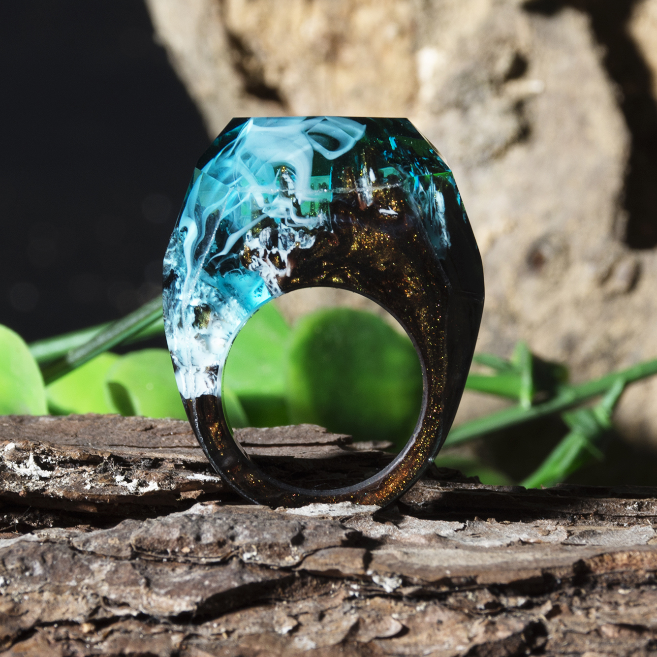 Resin Ring Epoxy-Jewelry Dried-Flowers Landscape Tiny In-The-Dark Best-Gift Eco The-Secret-Of-The-Magical-World title=