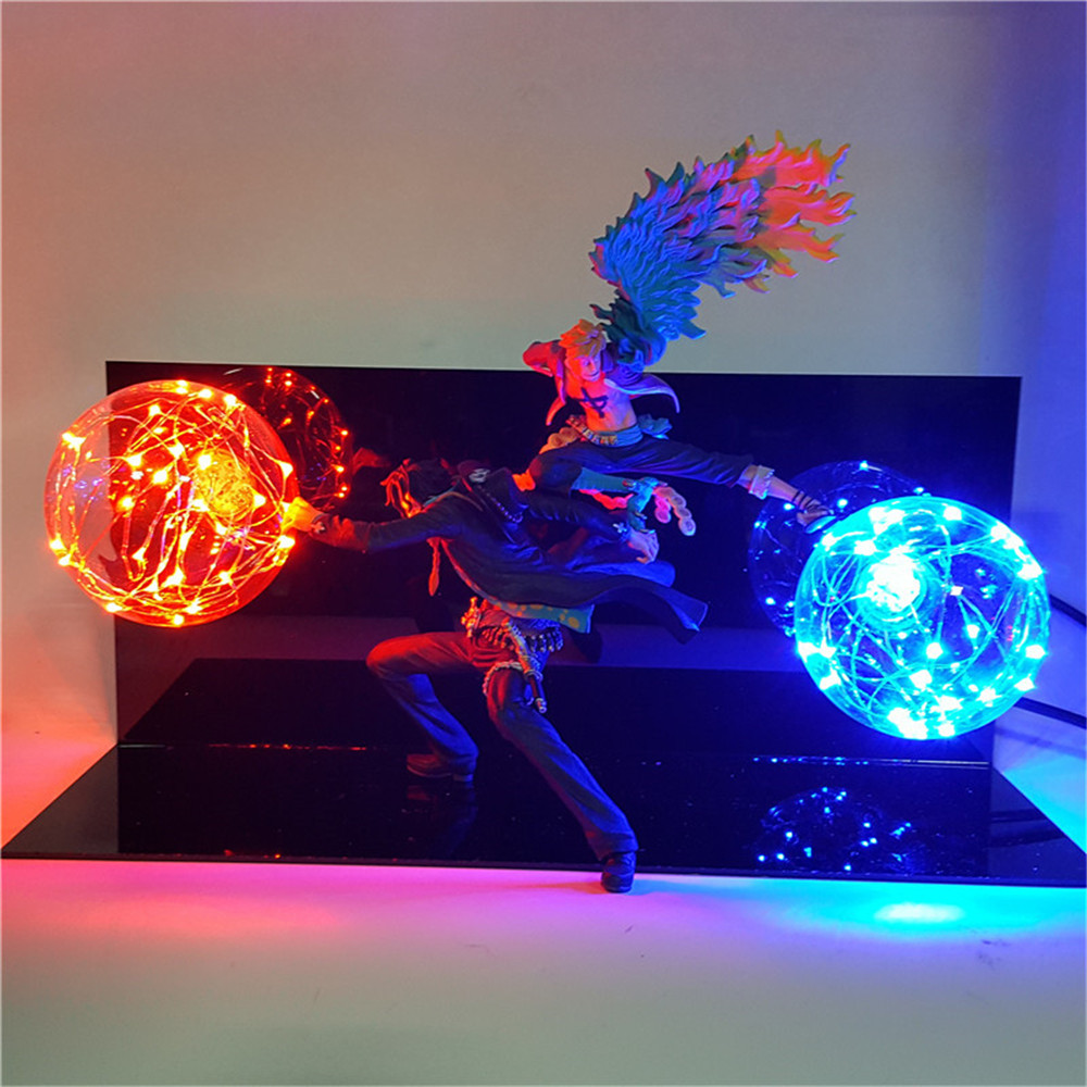 One Piece Figure Marco Ace DIY Led Table Lamp Anime Figure Ace Marco Team Cooperation PVC Model Toys For Boys Christmas Gifts