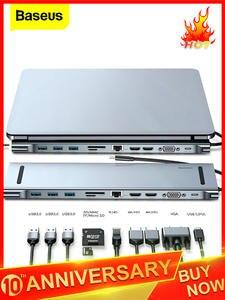 Baseus USB C концентратор типа C к HDMI VGA RJ45 мульти порты USB 3,0 USB3.0 Type-C сплиттер для Macbook Pro Air USB-C HUB адаптер питания