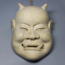 Wood Statue Mask Decoration Craft Tattoo Hand-Makes Japanese Ghost