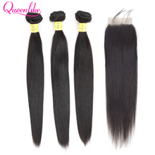Queenlike 100%Human-Hair-Weave-Bundles Closure Straight Brazilian with Non-Remy Hair-Weft