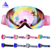 Snowboard Goggles Mask Mirrored Skiing Eyewear Magnetic Double-Spherical Women Adult
