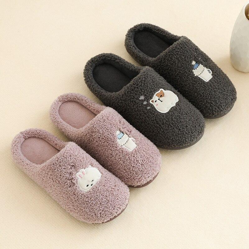 NOMIMAS Winter Men Indoor Home Shoes Faux Fur Warm Slippers Warm Winter Home Slippers