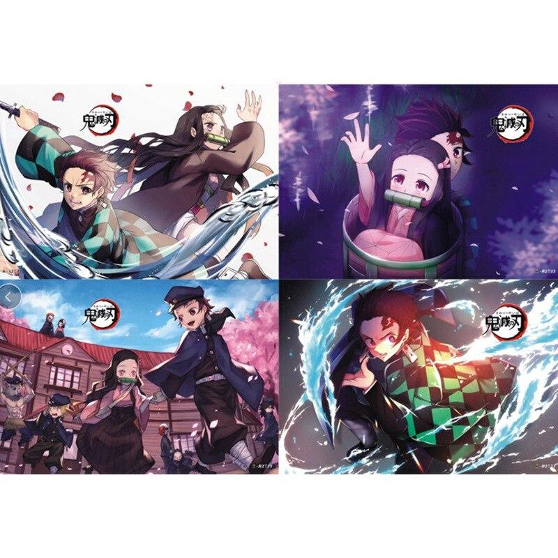 8 Sheets/ Set Demon Slayer Kimetsu no Yaiba Polypropylene A3 8 pieces Posters wall poster